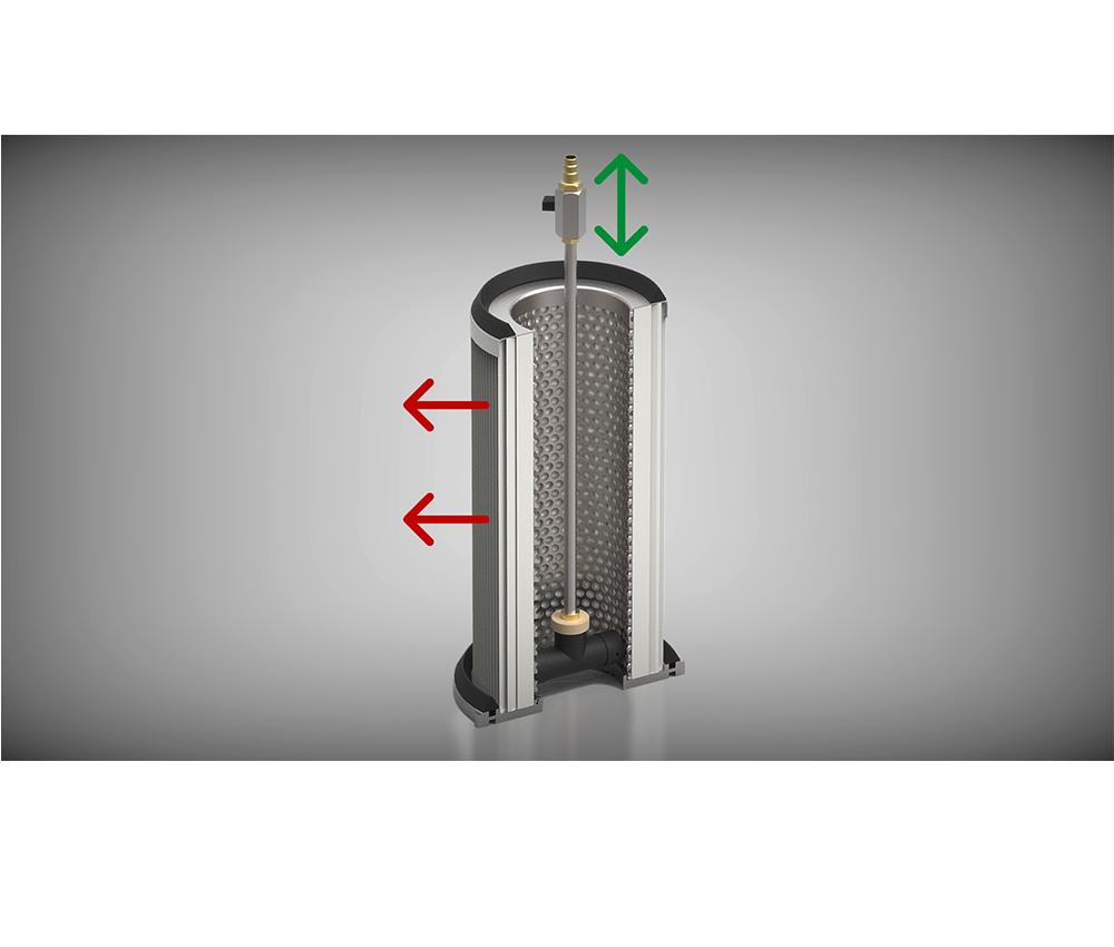 Entstauber Filterreinigung manuell